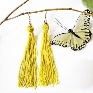 🆕️ Long Yellow Tassle Bead Earrings
